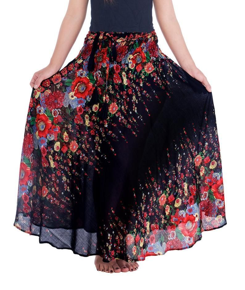 Black Women's Long Maxi Skirt Bohemian Gypsy Hippie | Etsy | summer outfits women over