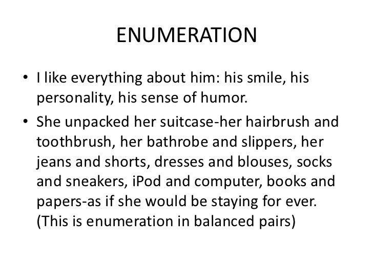 enumeration literary device