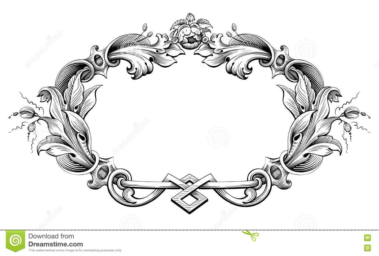 Vintage Baroque Victorian Frame Border Monogram Floral Ornament Scroll Engraved Retro Pattern Tattoo Calligraph Victorian Frame Ornament Frame Baroque Ornament