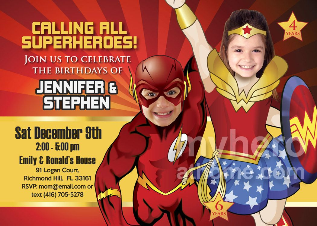 The flash and wonder woman birthday party invitation justice league the flash and wonder woman birthday party invitation justice league siblings party ideas justice stopboris Choice Image