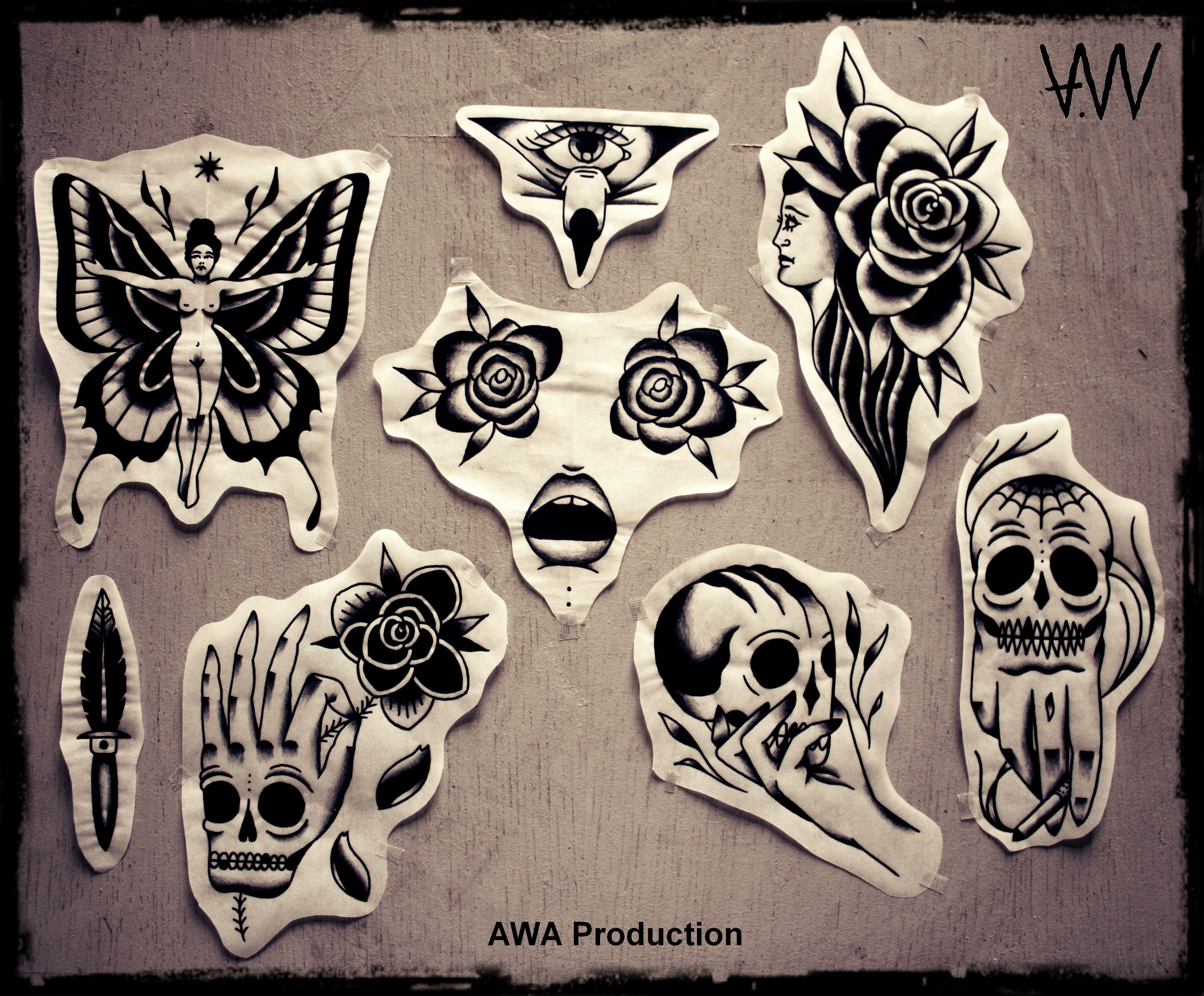Tattoo Flash Art Black And White Guitar: AWA Production Black Traditional Tattoo Flash.