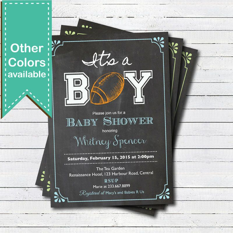 American football baby shower invitation. Retro chalkboard it\'s a ...
