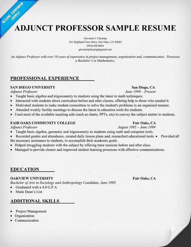 Adjunct Professor Sample Resume |   Resume Builder Online To