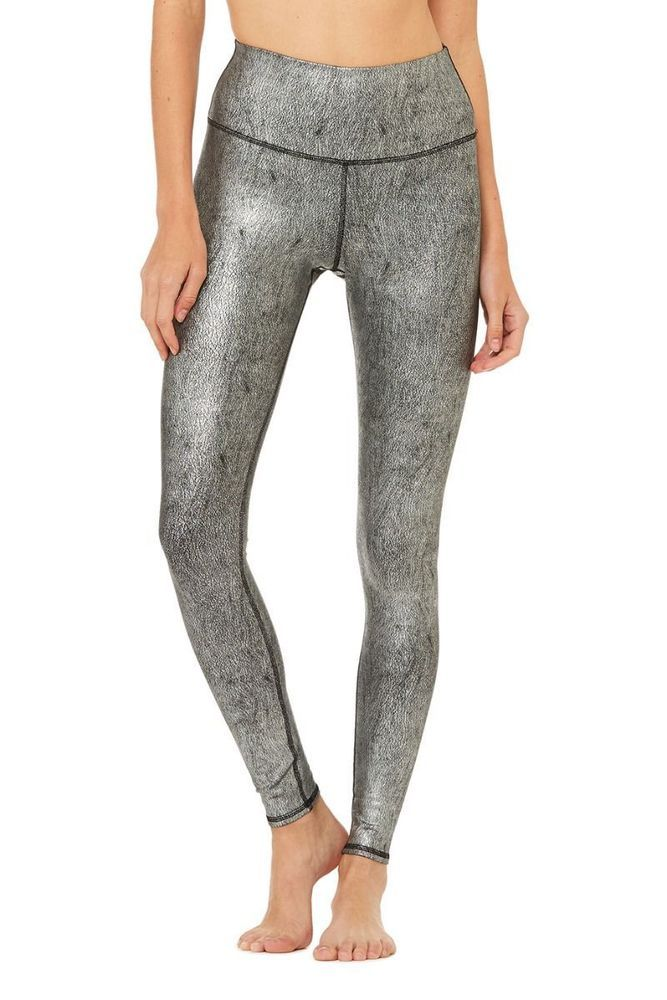 98efa16147 Alo Yoga slate metallic high waist airbrush legging, size small #ALO  #PantsTightsLeggings