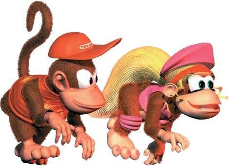 Lashes Pink Knotted Shirt Fur Hair Boyish Cap Diddy And Dixie Donkey Kong Series Donkey Kong Donkey Kong Country Diddy Kong