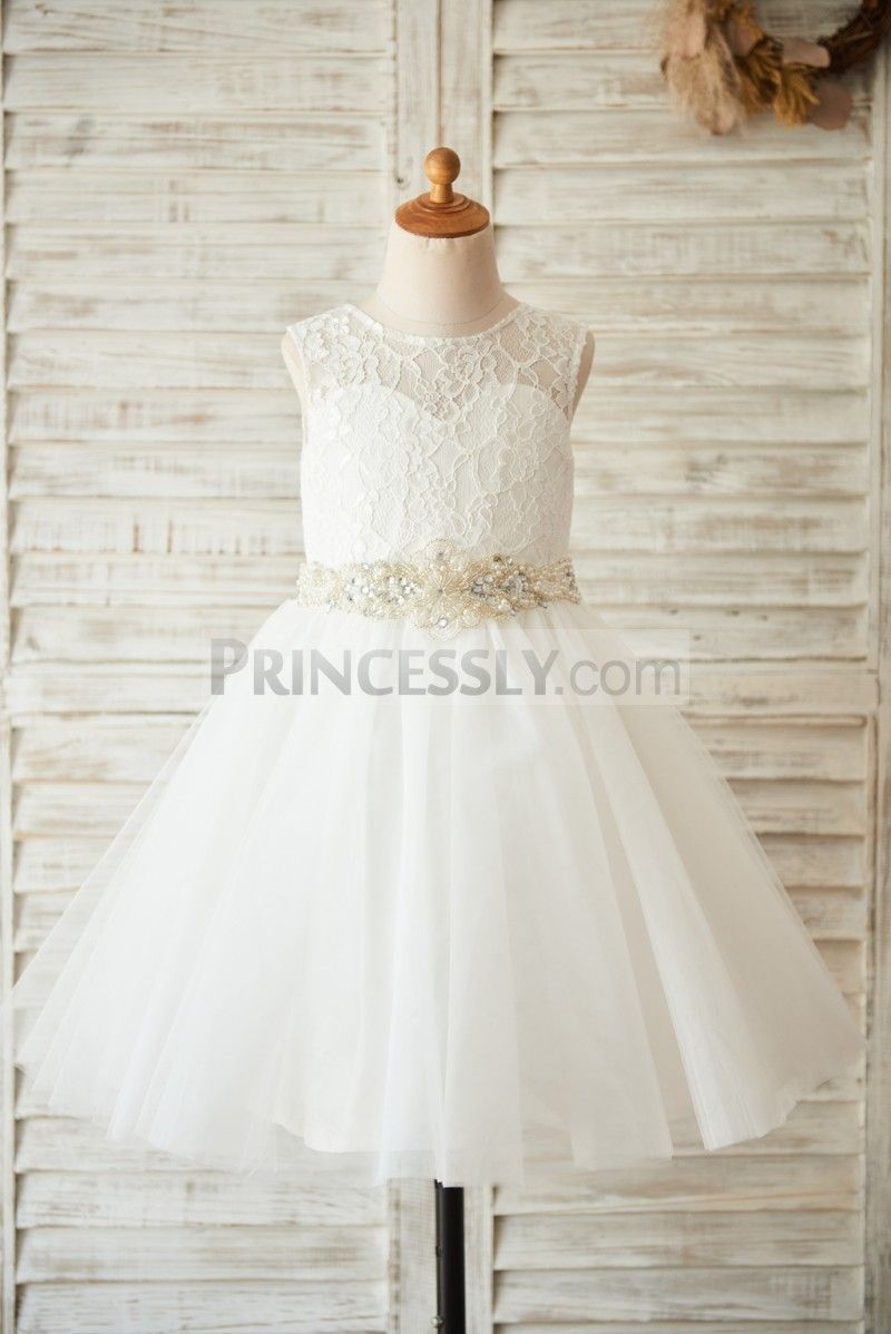 Rustic wedding flower girl dresses  Ivory Lace Tulle Wedding Flower Girl Dress with Beaded Belt
