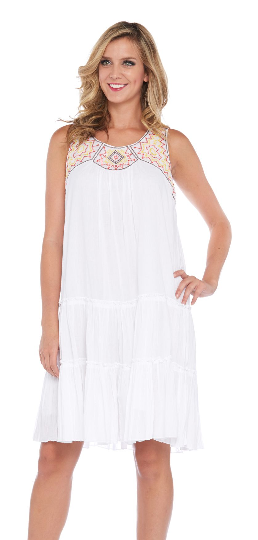 Kaktus Embroidered Neck Trapeze Dress In White Night Gown Nightgowns For Women Contemporary Outfits [ 1750 x 838 Pixel ]