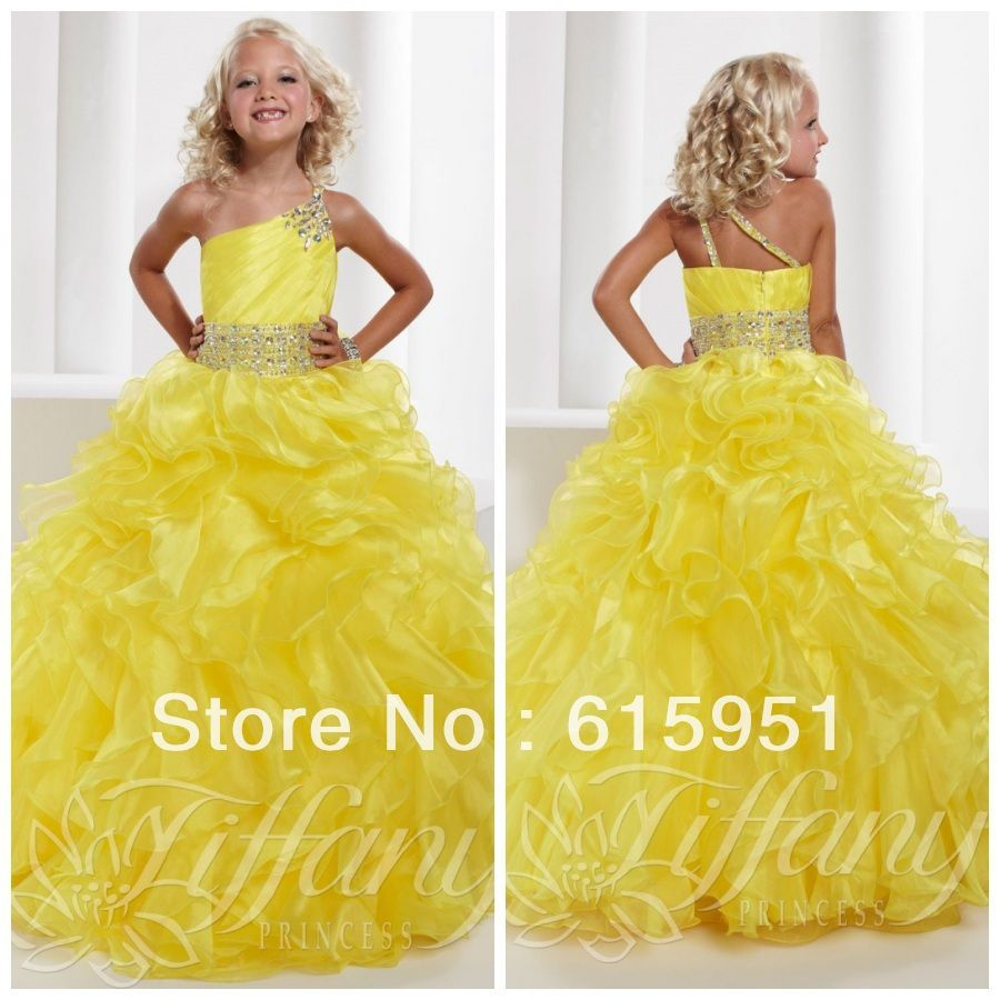 Bright Yellow One Shoulder Junior Size Ruffled One Shoulder Pageant