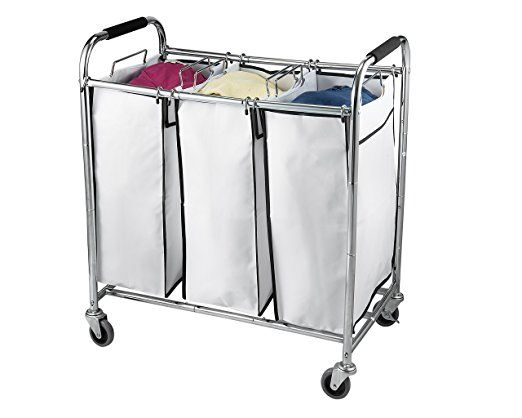 Heavy Duty Triple Wrought Iron Laundry Hamper Sorter With Wheels