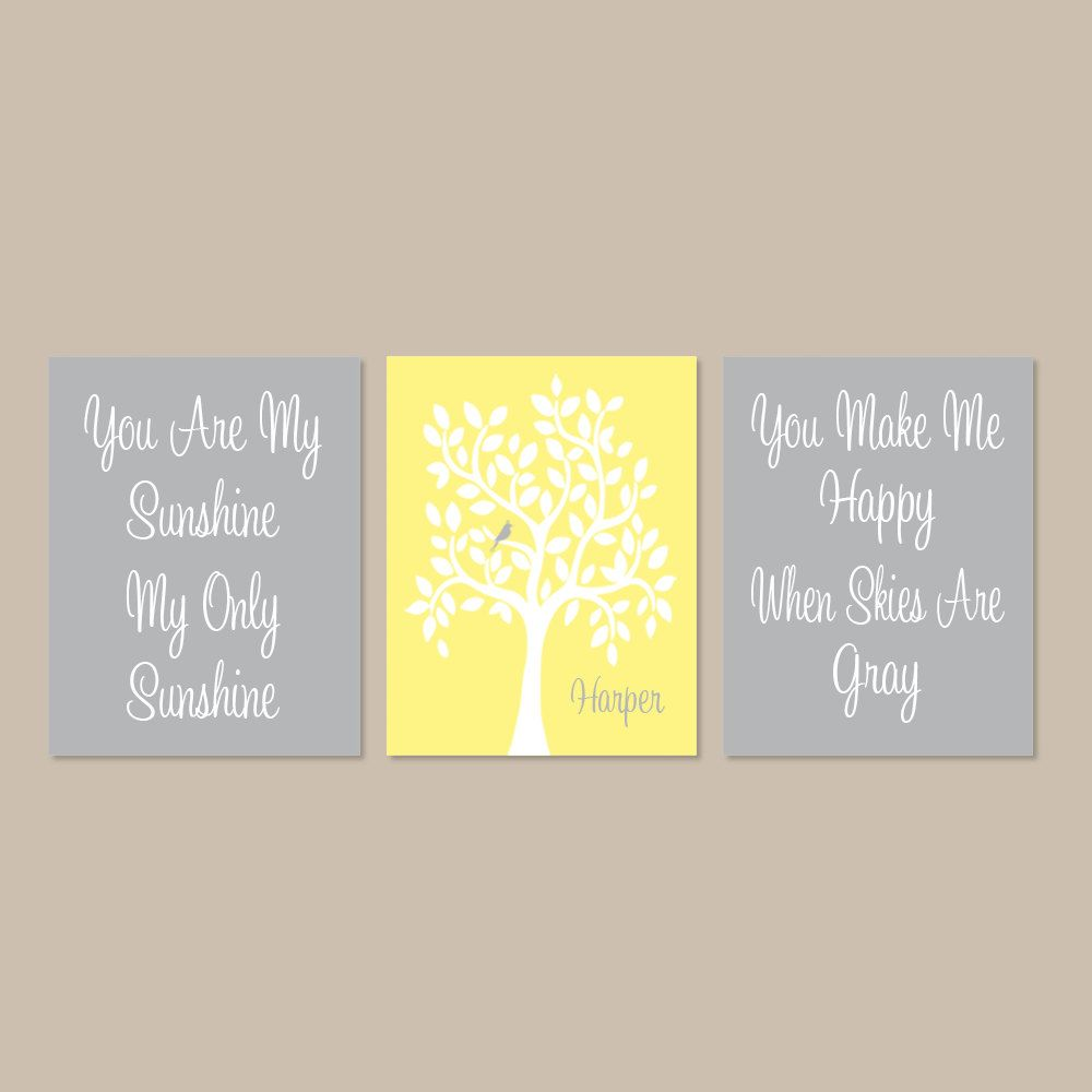 Nursery Tree You Are My Sunshine Wall Art Personalized Baby Girl ...