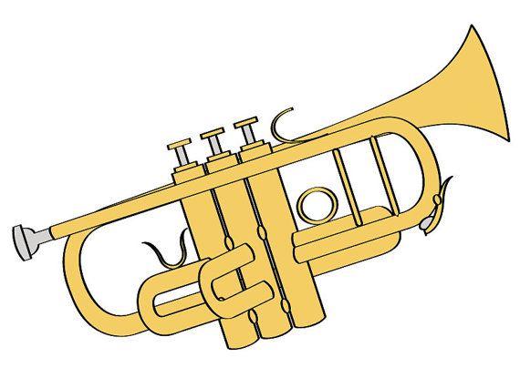 trumpet illustration digital download music clip art trumpet clip rh pinterest com trumpet clipart black and white trumpet clipart black and white