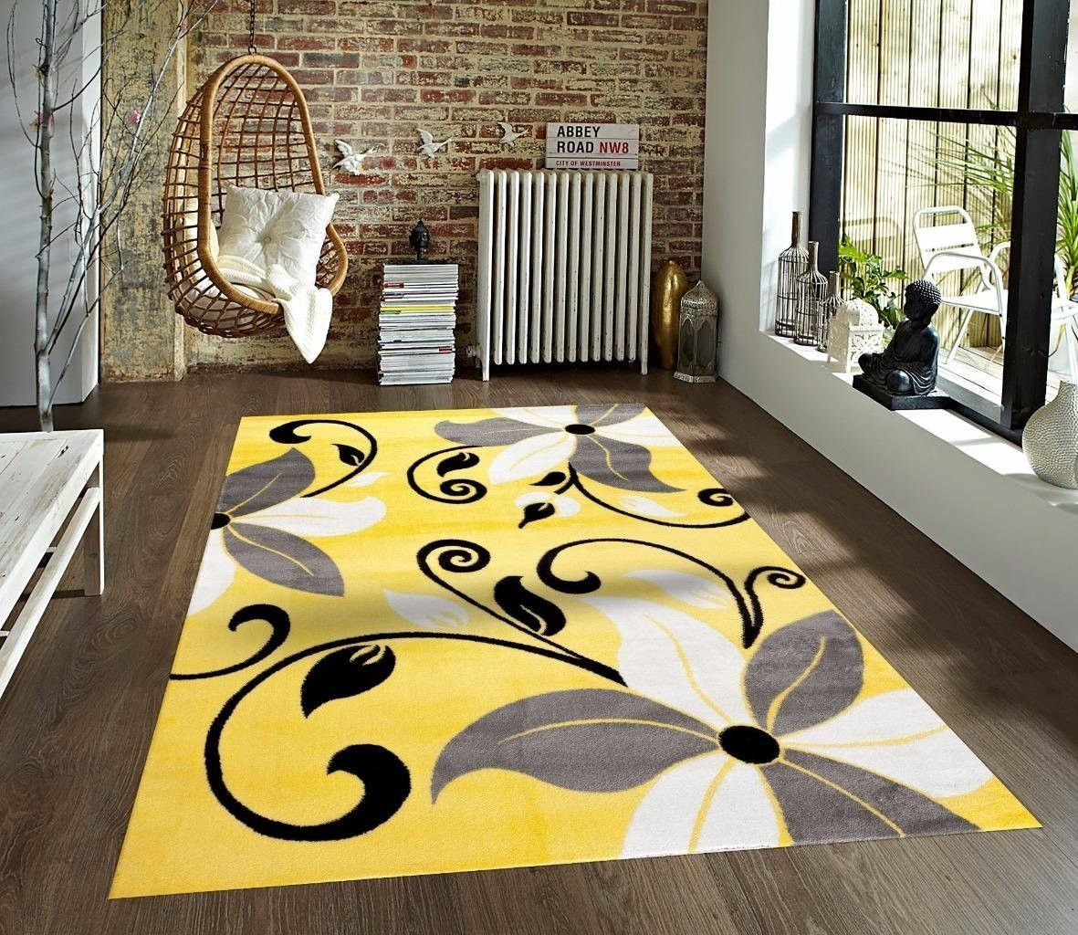 Yellow Black Gray White Floral Transitional Area Rugs With Images