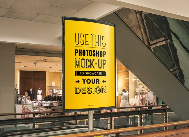 indoor-advertising-poster-mockup Graphics Pinterest Free - advertising poster templates