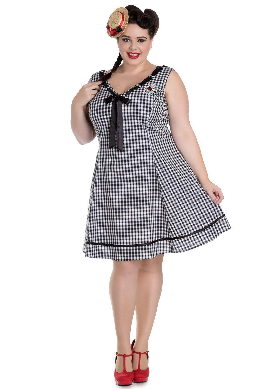 96028686ad56 Hell Bunny Plus Size Sweet Lady Gingham Check Ladybug Embroidery V-neck  Dress