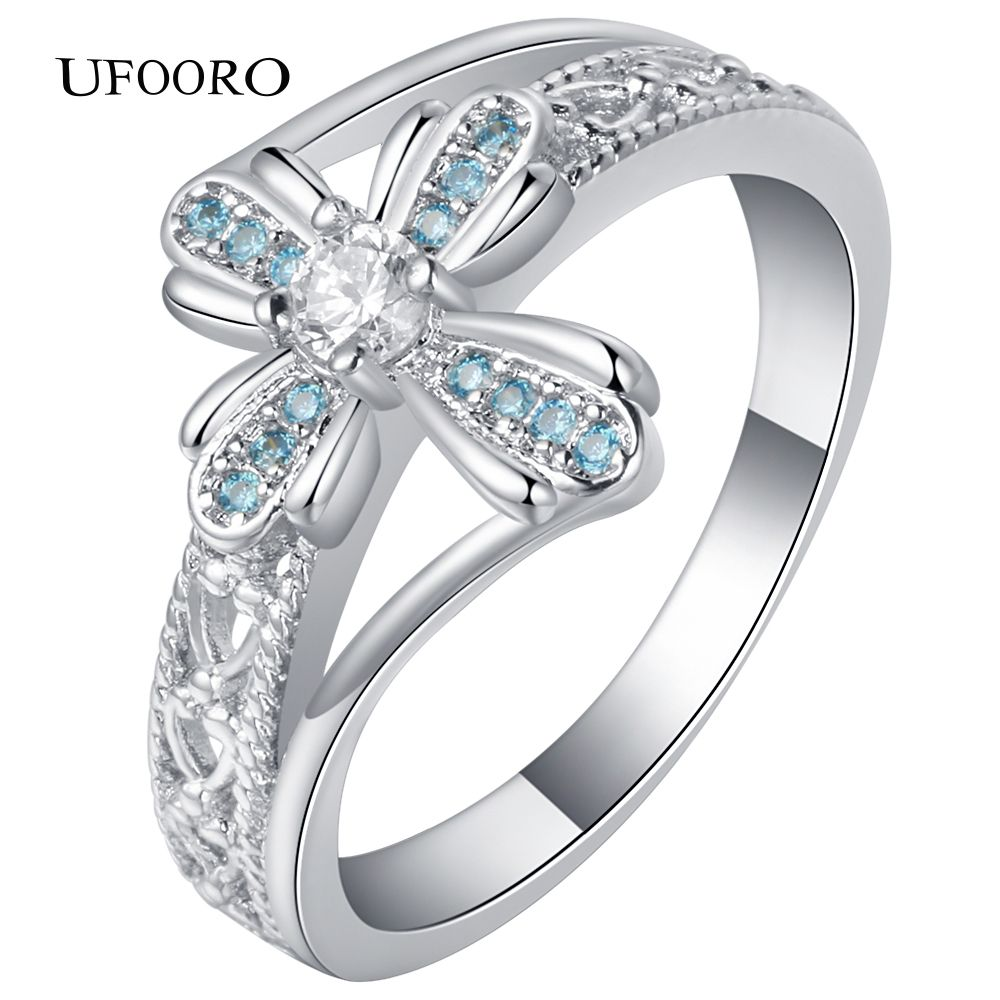 UFOORO Silvercolor Sky blue White Clear CZ Romantic Lace Clover