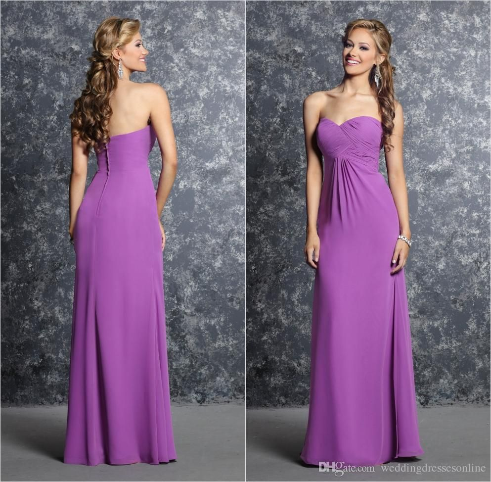 Sweetheart Neckline Empire Long Bridesmaid Dresses Pleated Chiffon ...