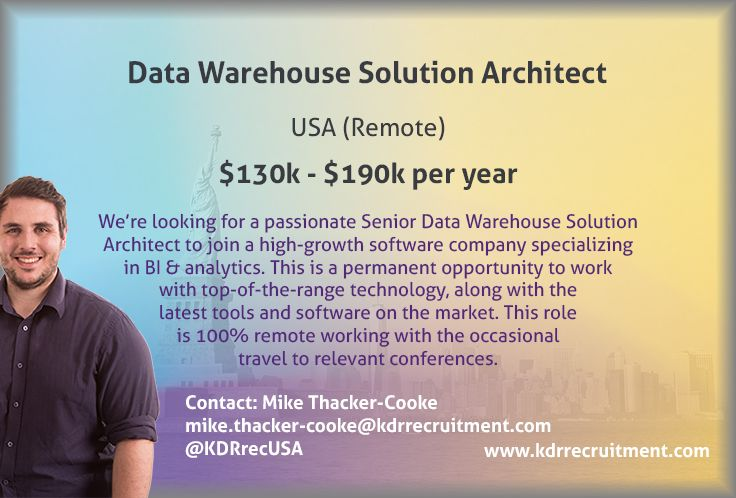 New Job Remote Data Warehouse Solution Architect needed