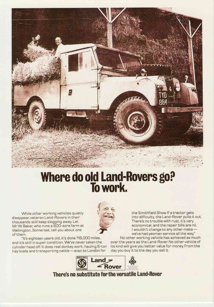 Landrover Land Rover Series 1 107 inch Somerset Farm collectable motor postcard