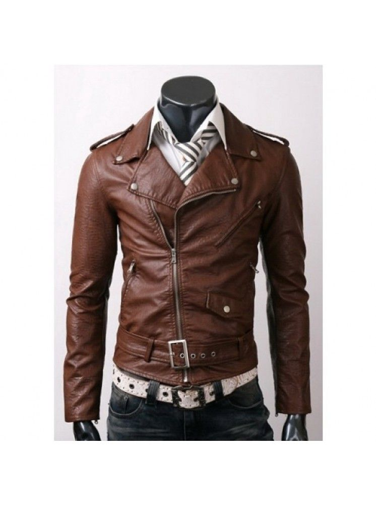 Cheaply Priced@£119.99--Brown slim-fit leather jacket with silver contrast