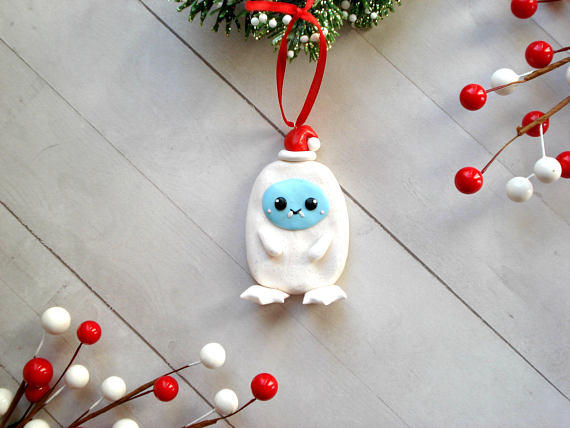 Abominable Snowman Christmas Ornament Polymer Clay Yeti stuff