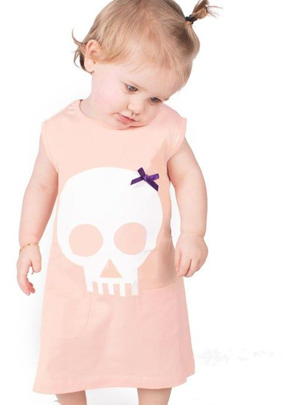 Skull & Bow Baby Girls Dress | Alternative Peach Baby Toddler Goth Metal Summer Party Dresses - Baby #babygirlpartydresses