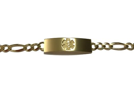 10k Yellow Gold Medical Id Bracelet With Figaro Chain Medical Id Bracelets Id Bracelets Bracelets