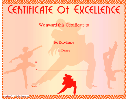 A certificate of excellence in dancing illustrated with dancers a certificate of excellence in dancing illustrated with dancers free to download and print yelopaper Gallery