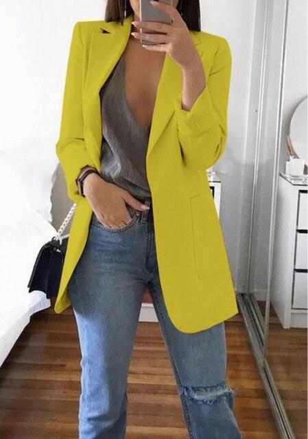 Long Coat  Women SleeveButton Blazer Suit OL Slim Work Fit Outwear Jacket Casual