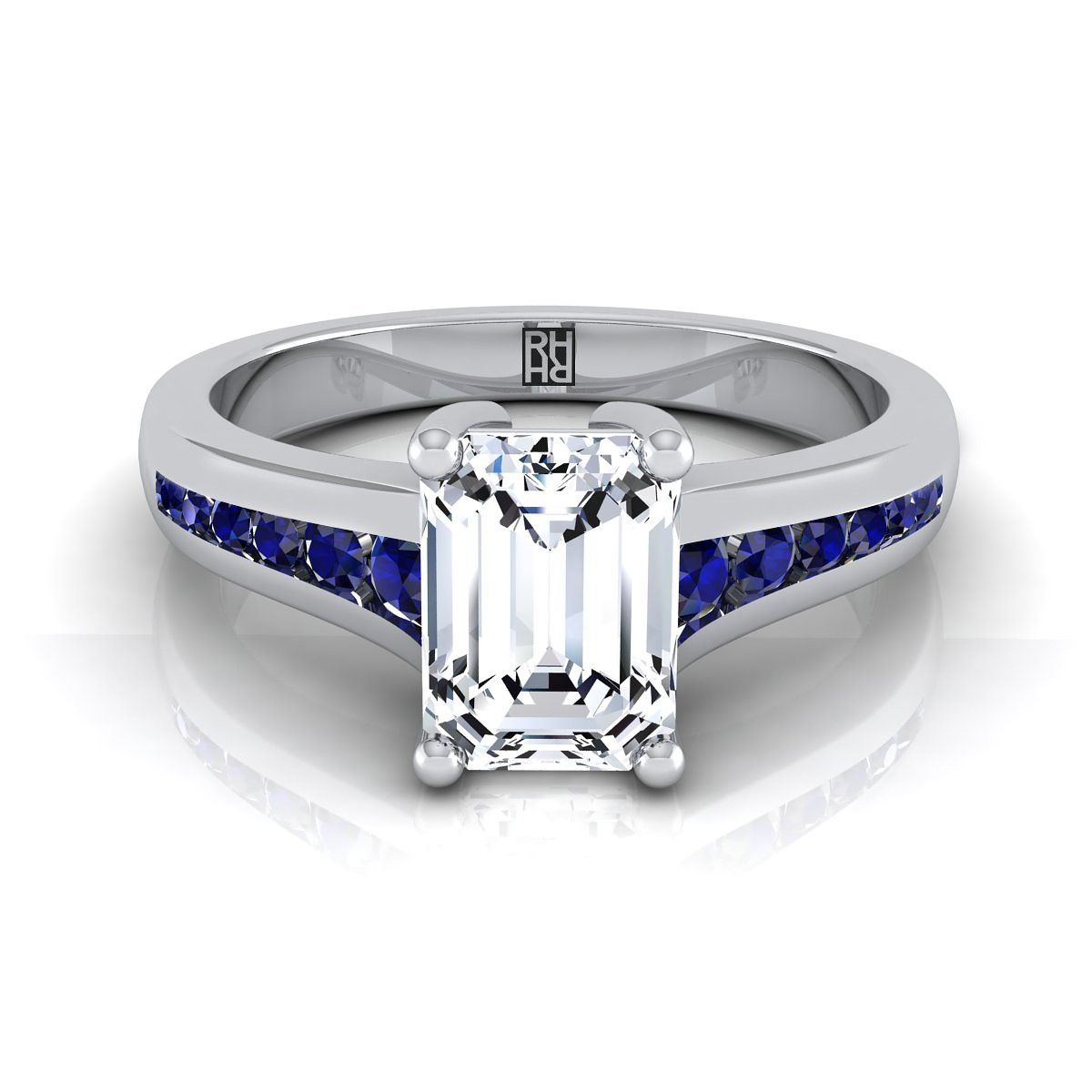 Amour Sterling Silver Blue Sapphire /& 1//6 Ct TDW Diamond 3-stone Ring H-I I2-I3