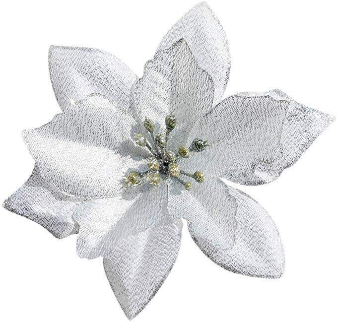 Amazon Com Dervonuns Poinsettia Christmas Decorations Glitter Poinsettia Flowers For Christmas Tree Decora In 2020 Christmas Flowers Poinsettia Flower Glitter Flowers