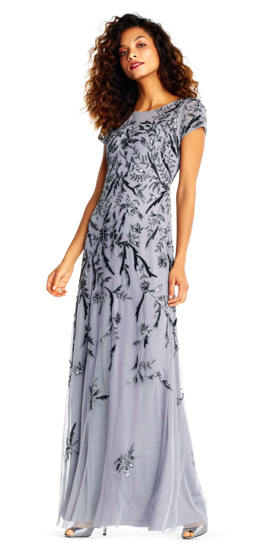 Adrianna Papell | Short Sleeve Gown with Sequin Beaded Vines ...