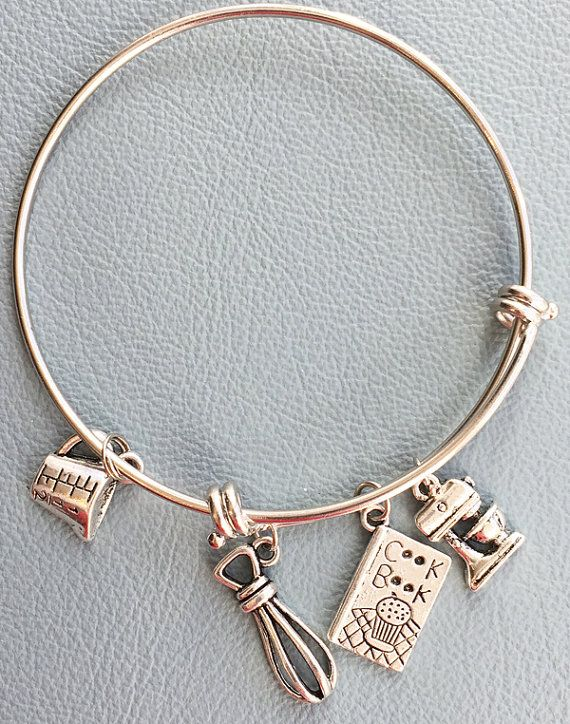 ac61662f2 Silver Bracelet Inspired by Alex & Ani Cooking Baking by Arrimage Remember  the Chef or Baker in your life with this Wire Bangle with ***3D Mixer Charm  ...