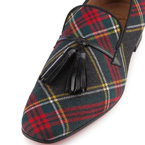 8839ac59fe5 Christian Louboutin Daddy Men s Flat Tartan Sneakers Anthracite Red Sole  Shoes