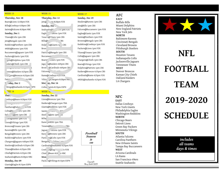 49ers 2020 Schedule.Nfl Custom 2019 2020 Football Schedule Complete All Team