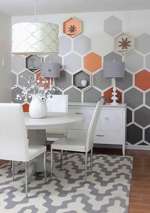 Genial Sechseck Wandmuster Ideen Fuer Eine Tolle Wandgestaltung In Grau Und Orange