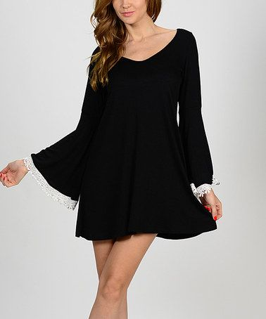Another great find on #zulily! Black Bell-Sleeve Shift Dress by Bellino #zulilyfinds