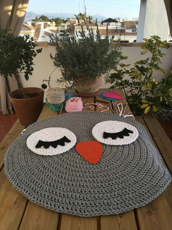 Búho alfombra de ganchillo - Alfombra infantil - Alfombra Cotton Air ...