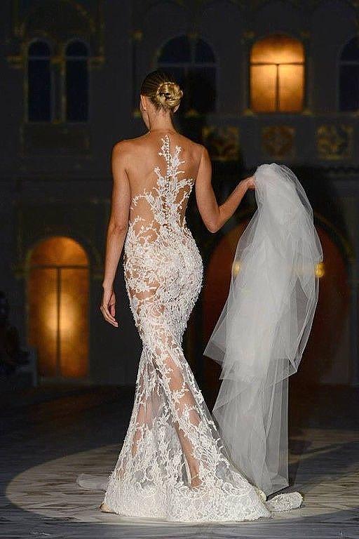 Robe belle mariage wedding dentelle blanc transparent