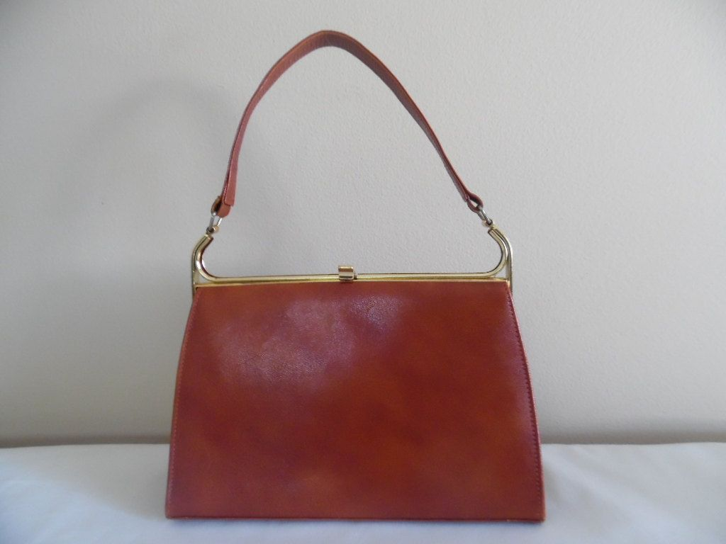 Vintage 1960s Ackery London Red Leather Handbag With Tan Suede Interior And Brass Frame By Elbief England Letasvintage On Etsy