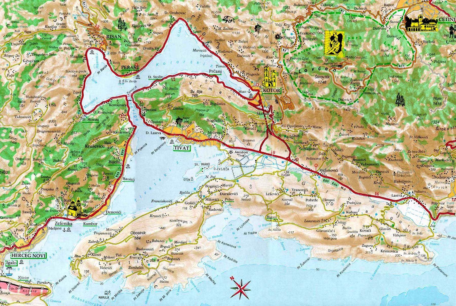 Map Of Kotor Montenegro Montenegro Map Map Mediterranean Travel