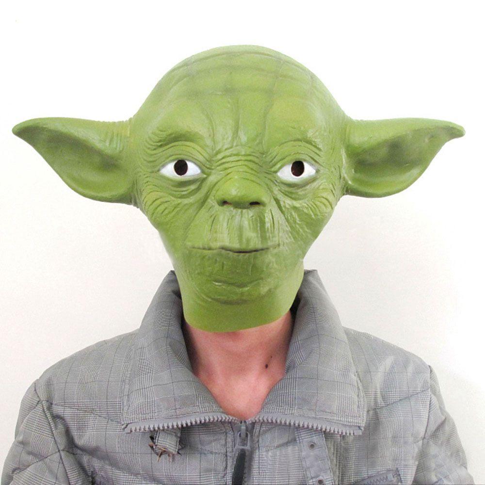 Latex Halloween Costume Star Wars Yoda Fancy Dress Face Mask Party ...