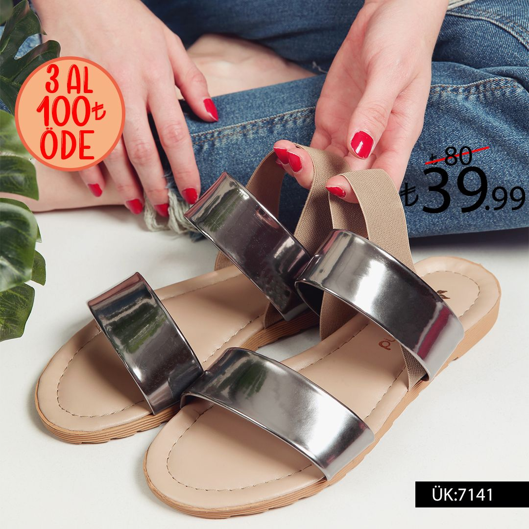 Bayan Lastikli Sandalet 7141 Platin Ayna Modatrend 2020 Sandalet Topuklu Sandalet Topuklular