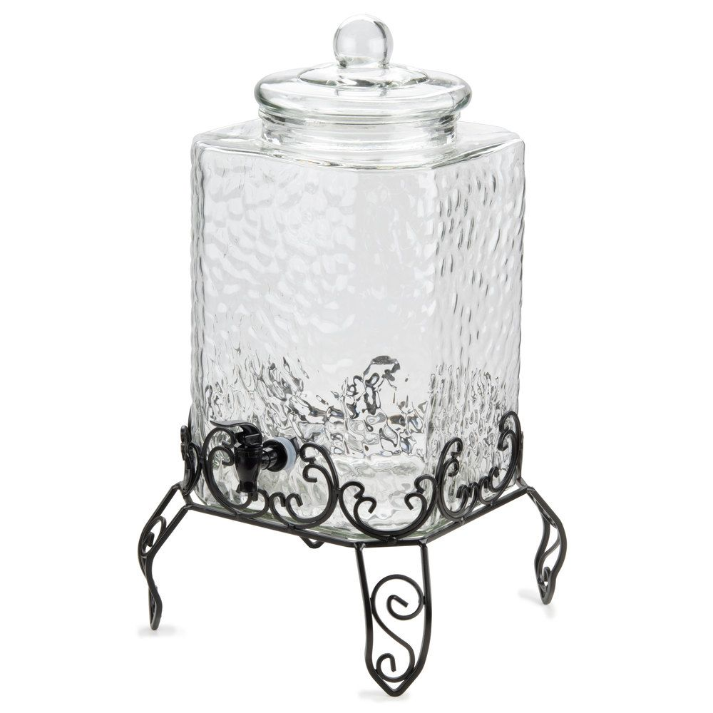 core 5 gallon hammered glass beverage dispenser with metal stand beverages stand for and lemonade. Black Bedroom Furniture Sets. Home Design Ideas