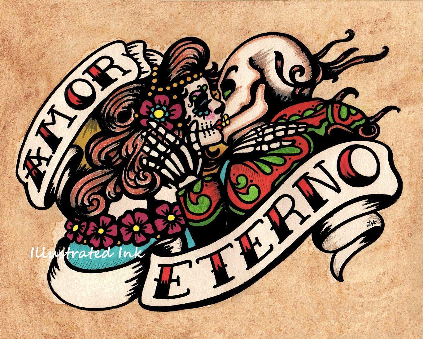 Dia de los Muertos AMOR ETERNO Day of the Dead Art Print 8 x 10 or ...