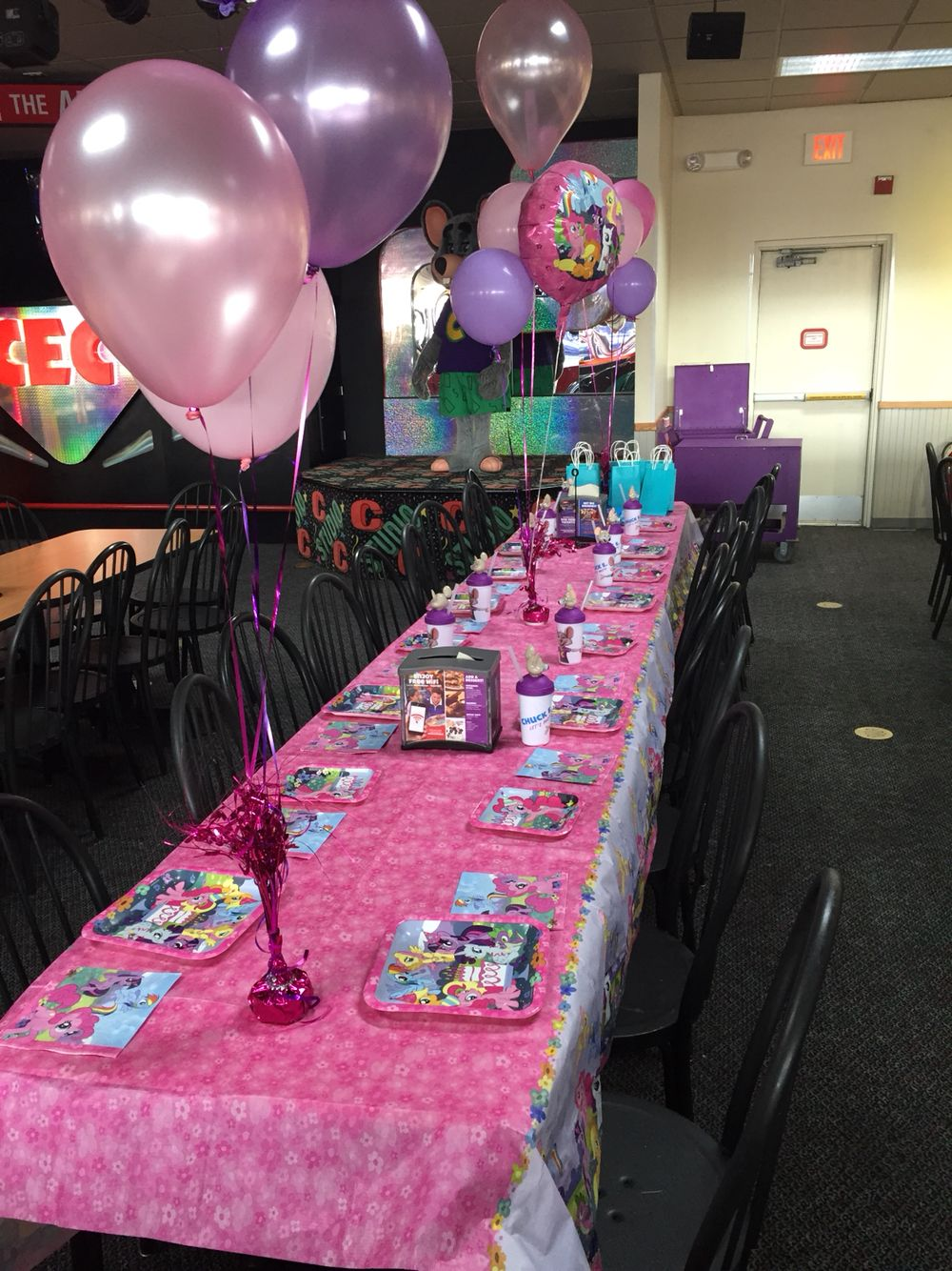 My Little Pony Party At Chuck E Cheese S Disney Princess Birthday Party Chucky Cheese Birthday Party Pokemon Birthday Party