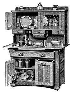 Cupboard clipart  vintage kitchen clipart, old catalogue page, antique kitchen cabinet ...