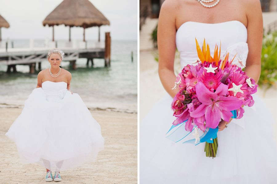 LOVE her bouquet - use those flowers just for a pretty arrangement