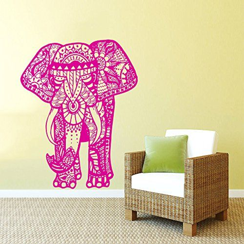 Wall Decals Indian Elephant Floral Patterns Mandala Tribal Love ...