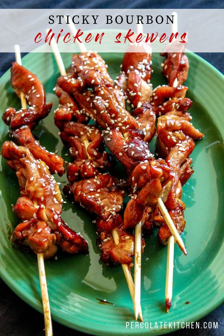 Sticky Bourbon Chicken Skewers #partyappetizers