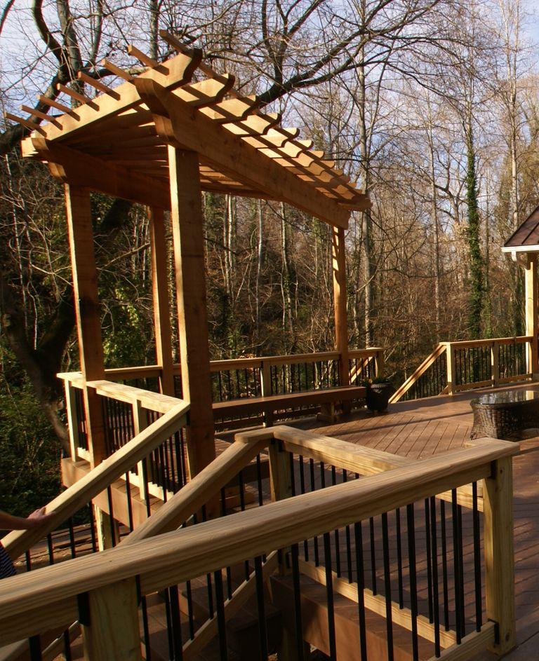 fan shaped pergola for the corner of the deck outdoor. Black Bedroom Furniture Sets. Home Design Ideas
